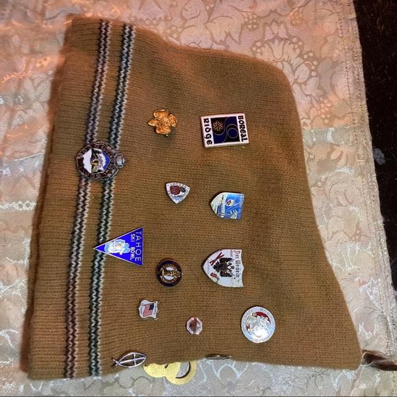 Vintage Ski Hat with Ski Resort Pins